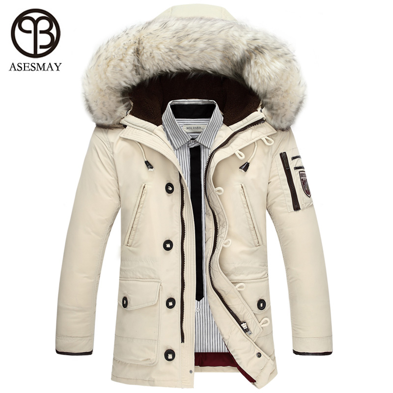 cd990d0df64 Asesmay Luxury Brand Winter Men Down Jackets Goose Down Mens White Parkas  With Fur Hood Men Deniem Russian Military Winter Coat -in Down Jackets from  Men's ...
