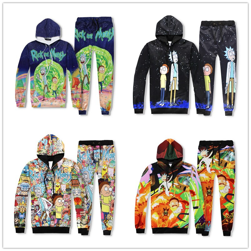 Harajuku Cartoon Rick And Morty 3D Print Sweatshirts Pullover Hoodies Colorful Tracksuit Hooded Tops Pants Sportwear Outfit