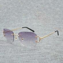 цены на Rimless Sunglasses Men Oval Diamond Cutting Eyewear Accessories Oculos Shade for Women Nice Eyeglasses for Beaching Driving  в интернет-магазинах
