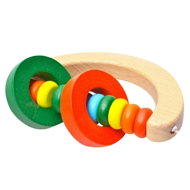 Baby Wooden Rattle Bell Toys Infant Handbell Rattles Kids Musical Instrument Educational Toy Funny Newborns Handle Bells Toys 2