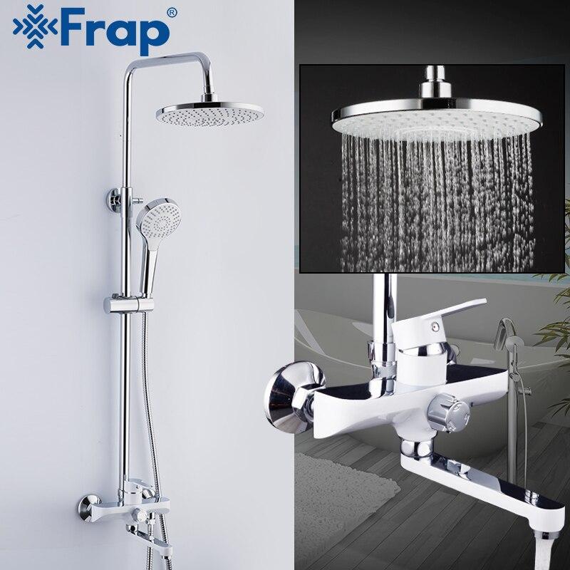 Frap torneira do chuveiro do banheiro torneiras misturador do chuveiro de banho de chuva cabeça de chuveiro conjunto cachoeira torneira da banheira