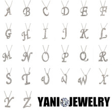 Fashion Silver Crystal Letter A B C D E F G H I J K L M N O P Q I S T U V W X Y Z Alphabet Pendant with Clavicle Chain Necklace