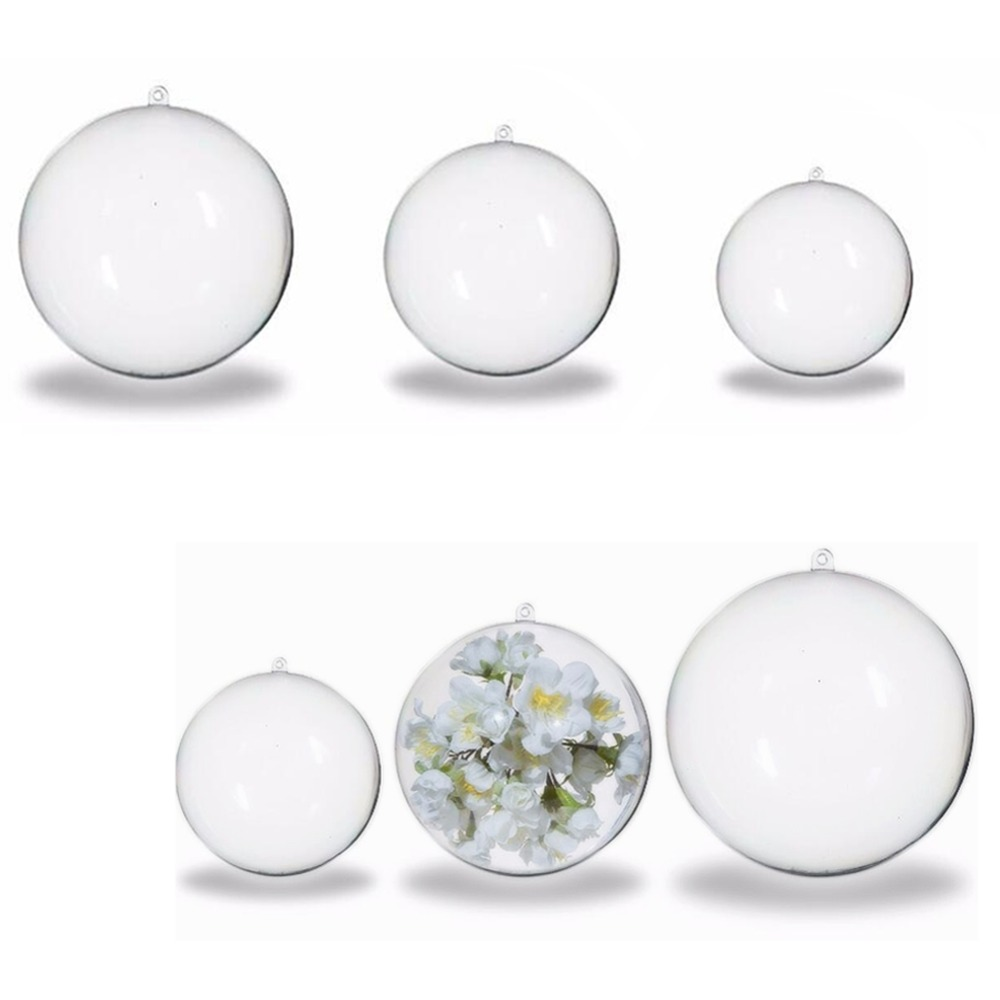 Clear plastic christmas ornament - Christmas Tree Decorations Ball 4cm 5cm 6cm Acrylic Transparent Open Plastic Clear Sphere Bauble Ornament Gift Present Box Decor
