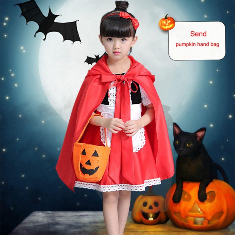 Little Red Riding Hood Costume For Girls Children Kids Halloween Costume Party Dress Fancy Dress + Cloak Cosplay Costume