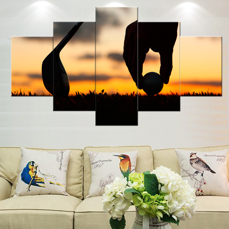 5 Piece Golf Sport Wall Art Photo pictures for Kitchen living room Landscape for bedroom decorative pictures Painting on canvas
