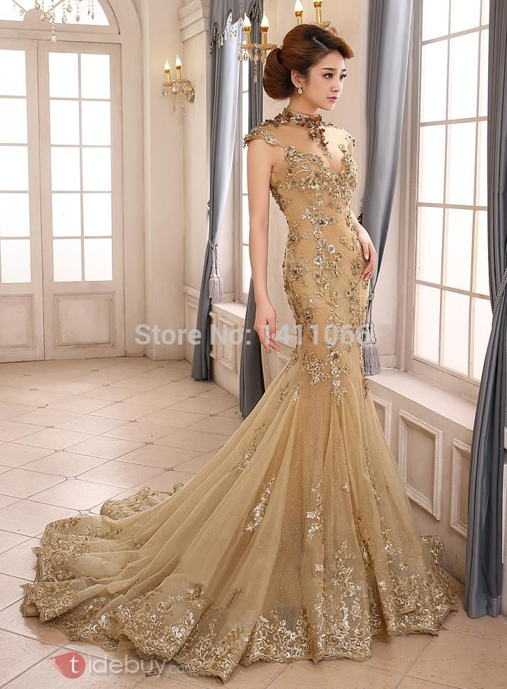 Gold Trumpet Wedding Dress