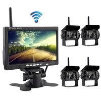 4 светодиодный беспроводной резервный камеры ИК ночного видения водонепроницаемый для RV Грузовик Автобус парковочная система помощи добав