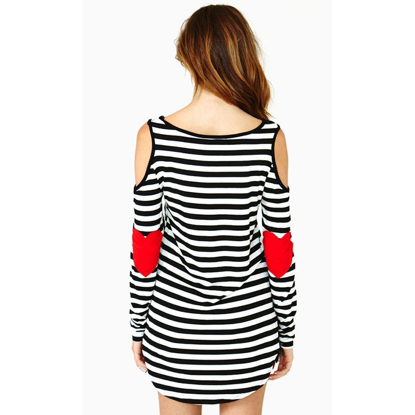 fa8110fafd0a Black And White Striped Shirt Girl Kawaii Red Heart Elbow Patch Irregular Long  Sleeve T-shirt Women Off Shoulder Tee Tops