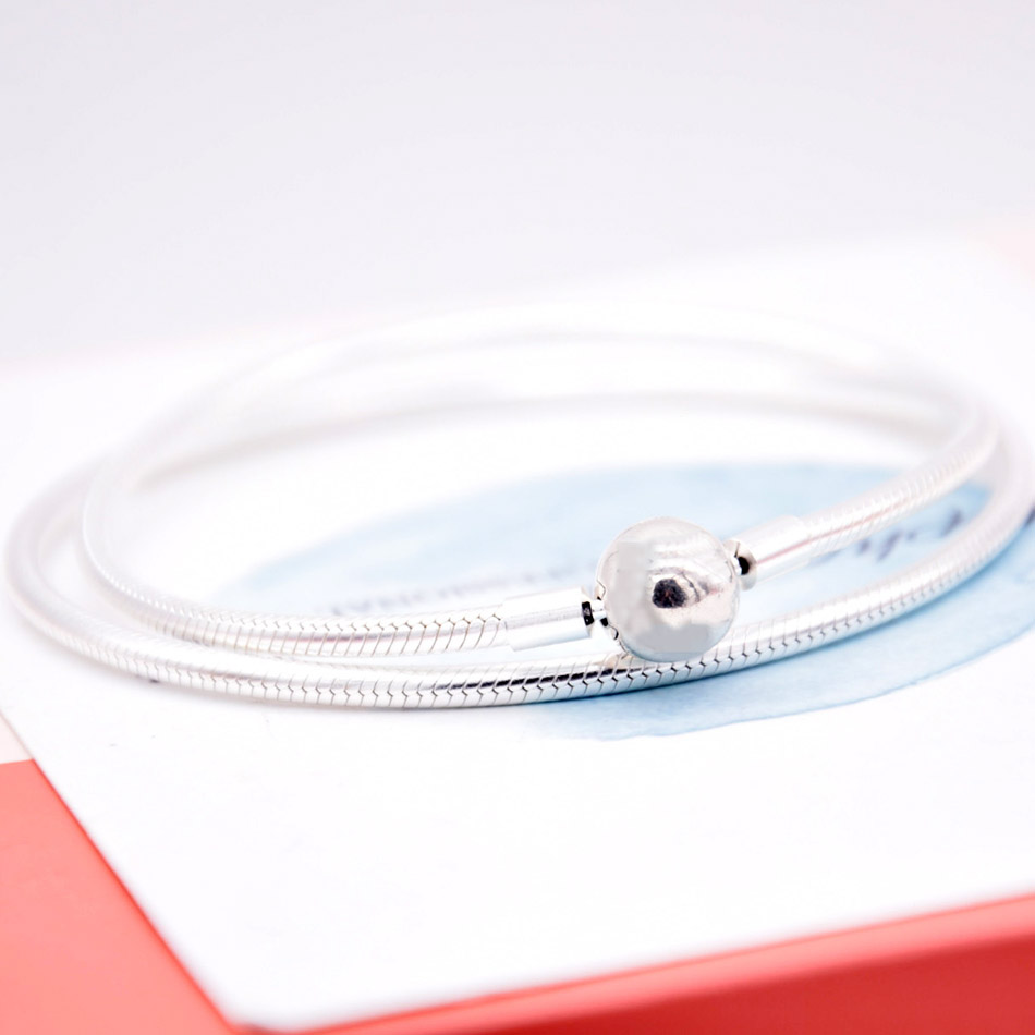 Couleur or homard baril & boule fermoir serpent chaîne collier pour les femmes cadeau de mariage Pandora bijoux 925 collier en argent Sterling - 5