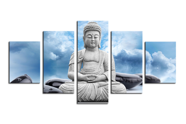 Buddha And Spa Stone In Blue Sky Wall Art Painting