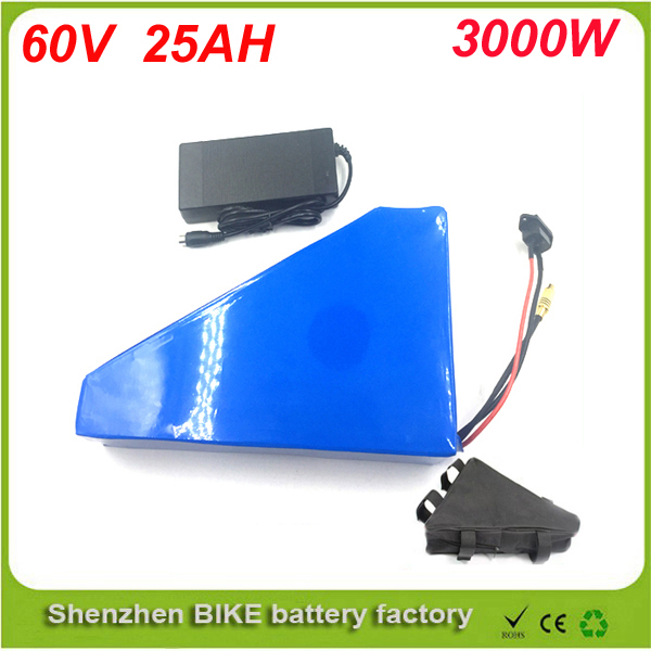 Free customs taxe triangle lithium battery 60V 25Ah electric bike battery 60V 3000W electric font b