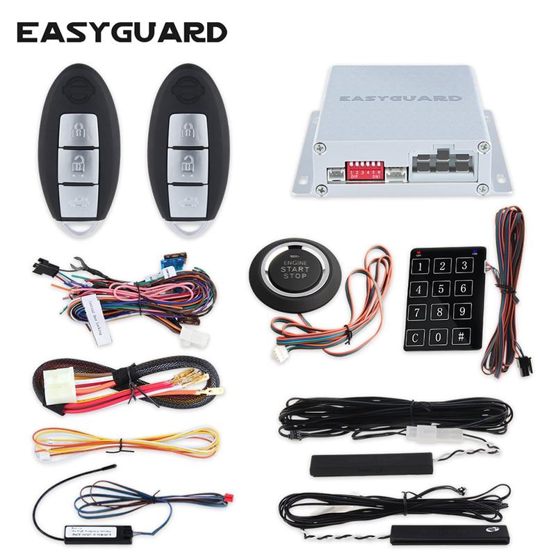 D'EASYGUARD PKE système d'alarme de voiture avec démarrage à distance du moteur automatique d'arrêt passive système d'entrée kit démarrage/arrêt à bouton poussoir de fenêtre