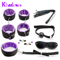 Hot Sale Sexy Toy 7 Pcs/set Kit Sex Toys for Couples, Nylon Sex Bondage Nipple Clameps Handcuffs Ball Gag Eye Mask Erotic Toy