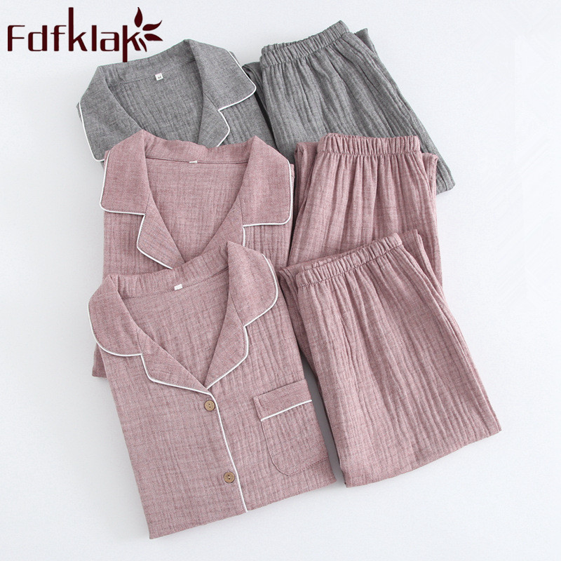 Home Clothes Spring Summer 2019 New Fashion Pajamas For Couples Long Sleeve Pyjama Femme Coton Sleepwear Night Suit Fdfklak