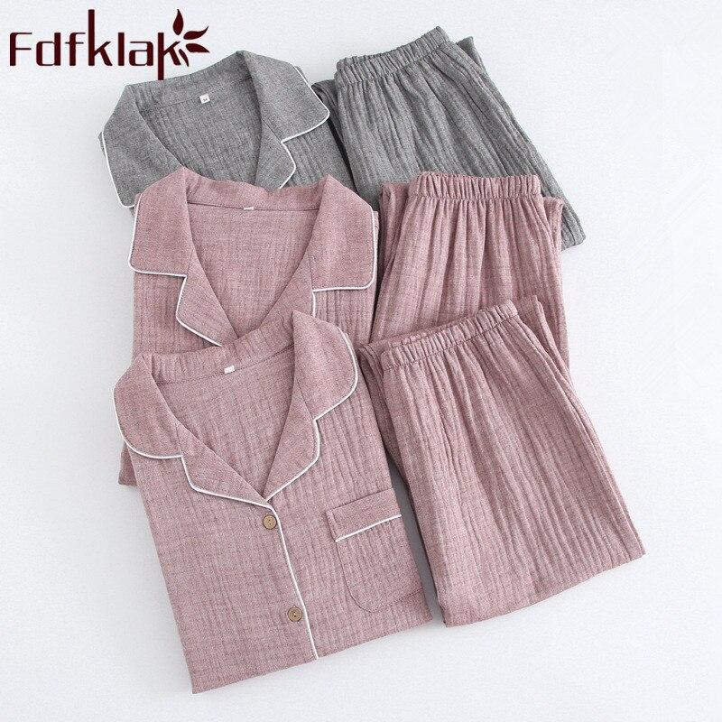 Home Clothes Spring Summer 2019 New Fashion Pajamas For Couples Long Sleeve Pyjama Femme Coton Sleepwear Night Suit Fdfklak