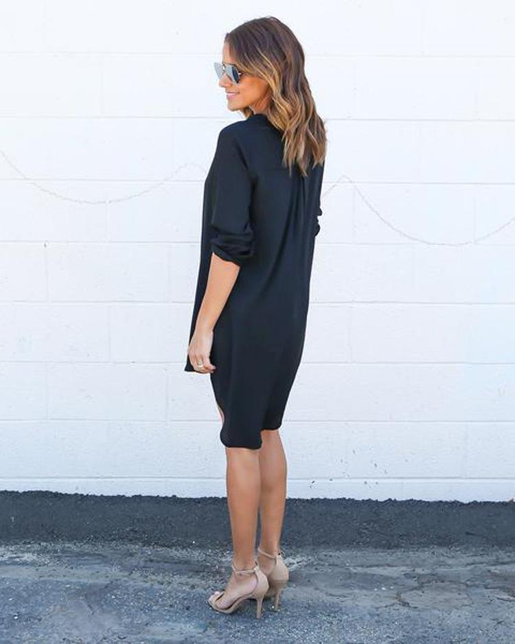 Plunging Neck Chiffon Dress Long Sleeve Casual Tunic