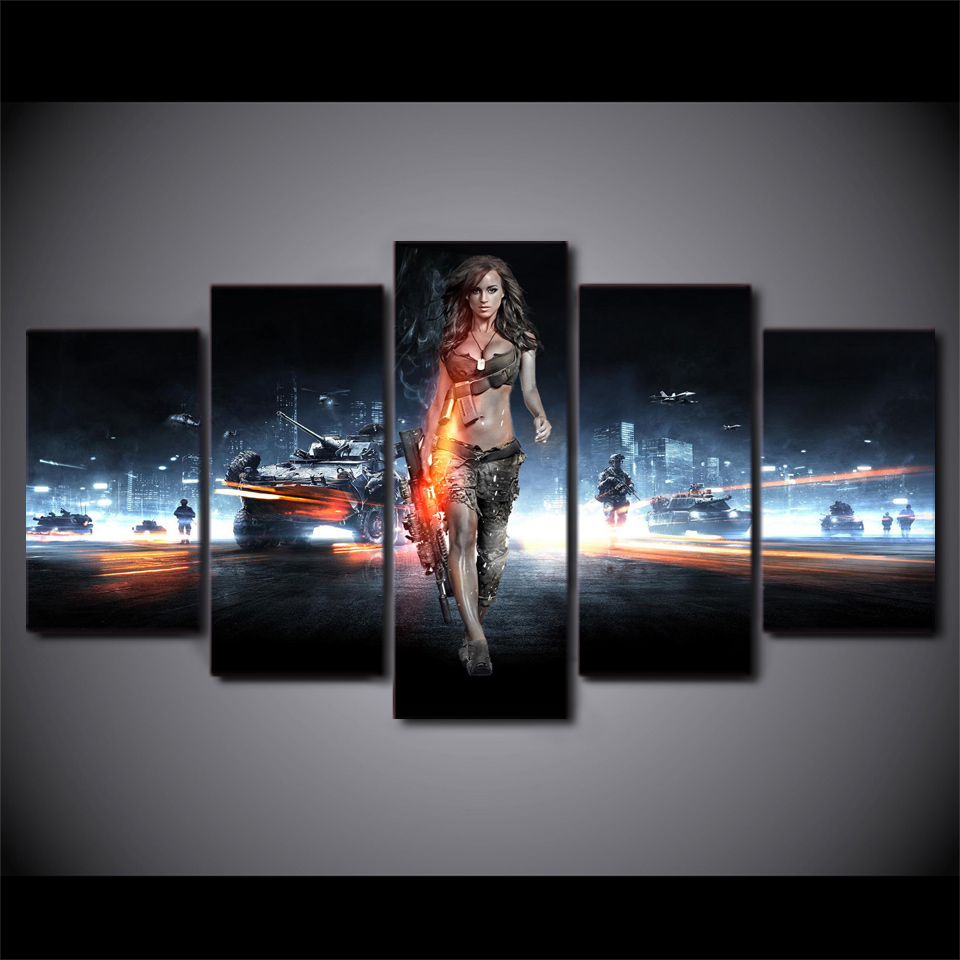 Modern Pictures Canvas Poster HD Printed Wall Art 5 Pieces Home Decor Battlefield Female Warrior Game Painting Framework