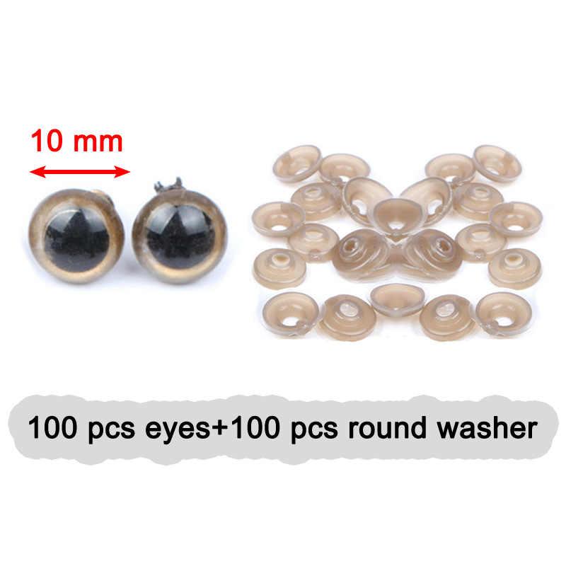 100 шт Красочные 10 мм пластиковые защитные DIY куклы игрушечные глаза для животных кукольные ремесла амигуруми медведь куклы аксессуары с шайбой