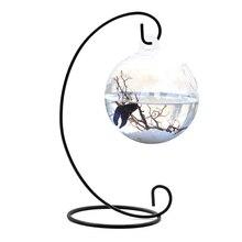 Behogar Clear Round Shape Hanging Glass Aquarium Fish Bowl Tank Flower Plant Vase Home with 28cm Height Rack Holder Fishbowls