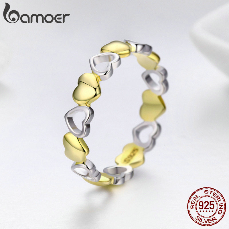BAMOER High Quality 100% 925 Sterling Silver Stackable Gold Heart Engrave Finger Rings for Women Sterling Silver Jewelry SCR317