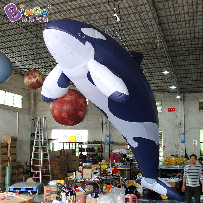 5.5M/18ft. Long inflatable killer whale balloon sea animal model for hanging display with the FREE shipping5.5M/18ft. Long inflatable killer whale balloon sea animal model for hanging display with the FREE shipping