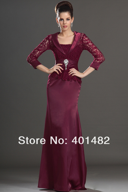 Elegant Burgundy One Piece Three Quarter Sleeves Lace Bodice Mother of the The Bride Dress Freeshipping