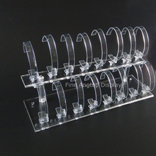 Removable 2 tier watch display stand holder clear plastic acrylic watch jewelry stand holder with 16 C holder