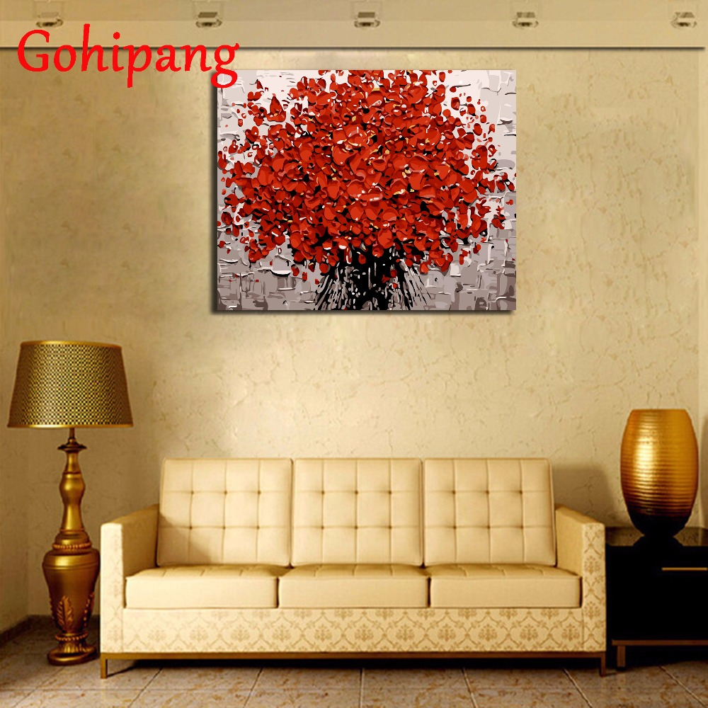 Red Flower DIY Painting By Numbers Hand Painted Acrylic Picture Wall ...