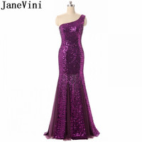 JaneVini 2018 New Purple Mermaid Bridesmaid Dresses Long One Shoulder Bling Sequins Women Wedding Party Dress Formal Prom Gowns