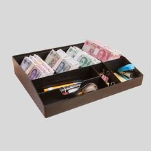 8 Grids Height Increase Black Plastic Coin Money Storage Box Bill Cash Tray Organizer With 4 Removable Clips