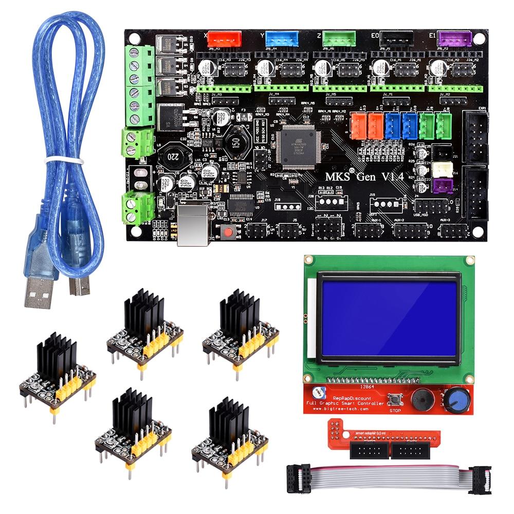MKS Gen V1.4 Control Board 3D Printer Controller Motherboard RepRap Ramps 1.4 Mega 2560 R3 TMC2130/TMC2208/A4988/DRV8825/TMC2100 цена и фото
