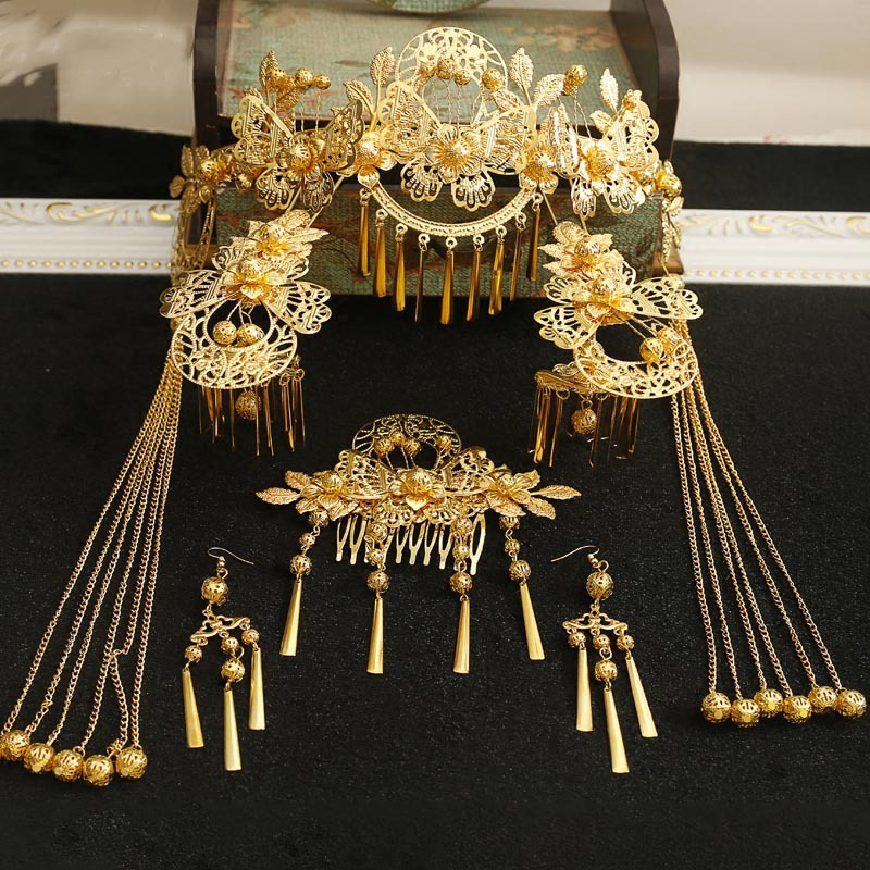 New Chinese Phoenix tassle hairpins sticks hair crown wedding tiara womenhair retro Bride Accessories q 60d four output dc power supply 60w 5v 12v 24v 12v ac dc smps power supply for led driver ac 110v 220v transformer to dc