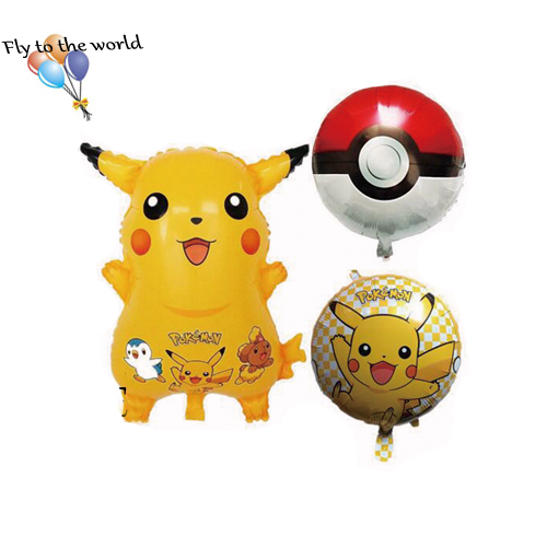 50pcs/lot globos pokemon Foil Balloons Inflatable toys Pikachu Helium Balloon ki
