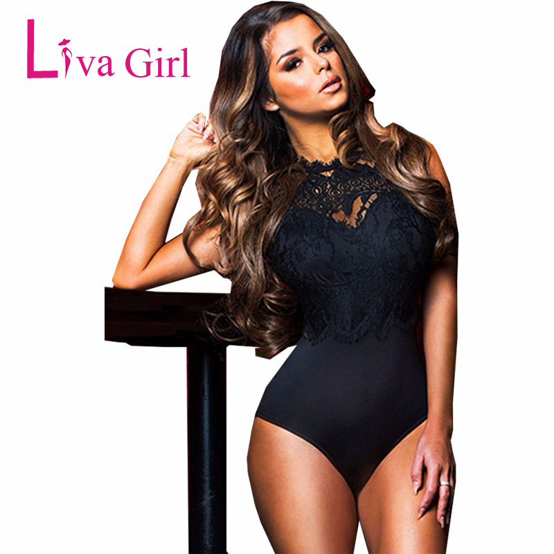 LIVA GIRL Black/White Sheer Lace Bodysuit Women Sexy Mesh Backless Bodycon Jumpsuit Transparent Romper Woman Club Body Tops S-XL