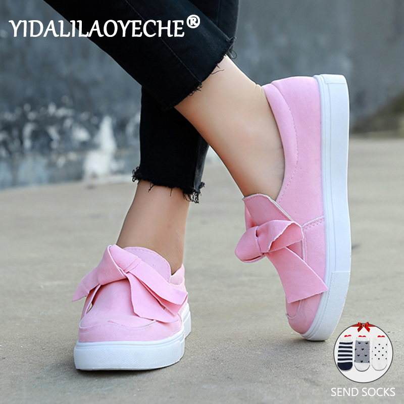 YIDALILAOYECHE Summer Women Casual Shoes Butterfly-knot Ballet Flats Round Toe Platform Shoes Alpargatas De Zapatos Mujer 2019(China)