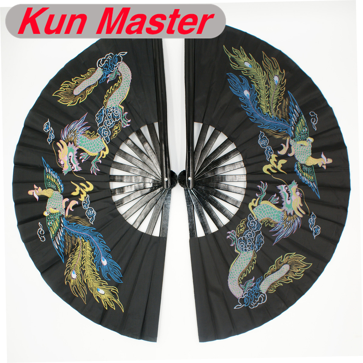 Bamboo Double High-grade  Tai Chi Performance Fan  Martial Arts Fan Kung Fu Fans Black Cover China Dragon And Phoenix Pattern