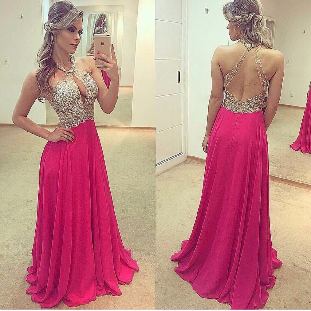 Sexy Backless Prom Dresses Long 2019 vestidos de fiesta de noche A Line Bling Bling Chiffon Imported Party Dress Formal Gowns