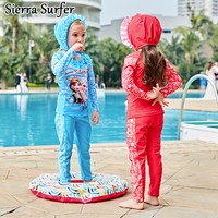 2017 New Children S Swimsuit Girl Long Sleeve Cartoon Swimsuit Split Set 5826