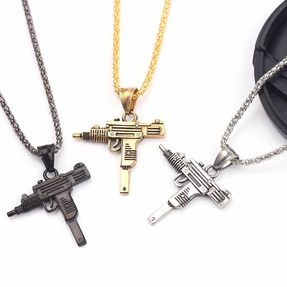 Cool Male Punk Military Submachine Gun Pendant Necklace Charm Jewelry Personalized Pistol Fashion For Men Hip-hop Roll Chian