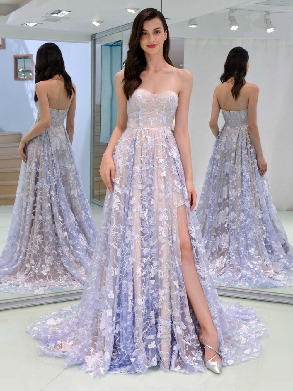 Strapless Evening dress Lace Long skirt Sexy off-the-shoulder Dress Prom Tail