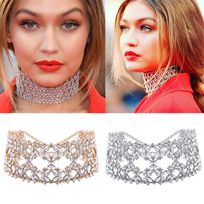 Luxury Hollow Flower Crystal Rhinestone Choker Collar Women Gold Silver Chain Necklace Wedding font b Jewelry