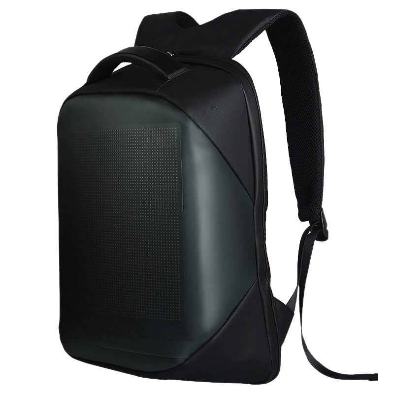 Novo-dc 5 v led display dinâmico wifi mochila portátil notebook controle 22l saco de escola à prova dwaterproof água mochila led para publicidade
