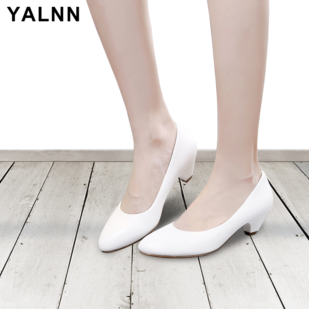 YALNN Women Shoes Pumps Soft Leather High Quality Comfortable Thick Autumn Spring Big Size Party High Heels Pumps Shoes For Girl