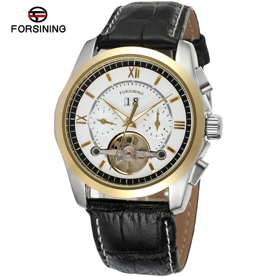 2017 New Forsining Montre Homme Men'sDay/Week/Month Tourbillion Auto Mechanical PU Leather Wrist Watch Free Ship forex b016 h 5050