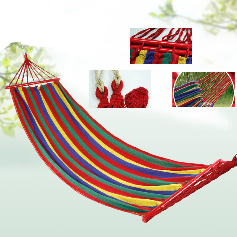 VILEAD Canvas Double Spreader Bar Hammock With Wooden Garden Camping Swing Hanging Bed Outdoor Furniture Hamacas De Dormir Ramak furniture size hanging sleeping bed parachute nylon fabric outdoor camping hammocks double person portable hammock swing bed