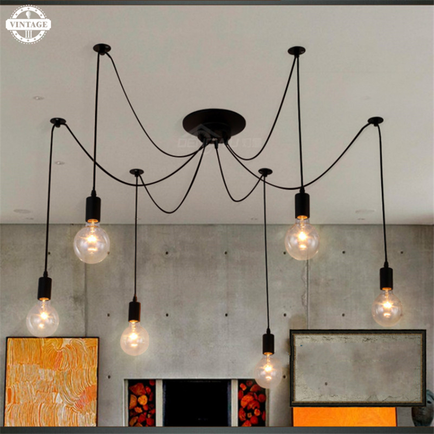American Style Loft Pendant Lamp Vintage spider lamparas de techo Iron Edison Pendant Lights bar cafe restaurant lighting new loft vintage iron pendant light industrial lighting glass guard design bar cafe restaurant cage pendant lamp hanging lights
