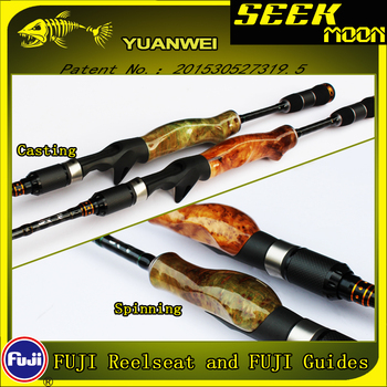YUANWEI 1.98m 2.1m Spinning Fishing Rod Casting Rod 2Sec ML/M/MH Wood Root Hand Carbon Lure Rod Stick Vara De Pesca Olta A055