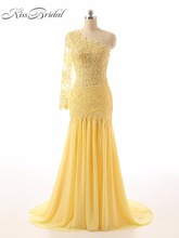 Prom Dress – Yellow One Shoulder Lace Sweeping Train