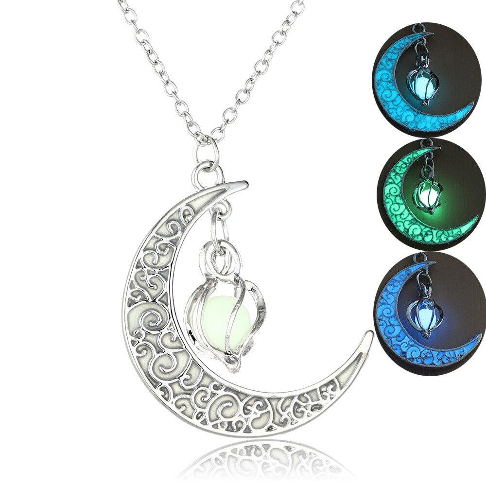 Motiviert Erluer Heißer Verkauf Höhlte-out Spirale Moonlight Anhänger Halskette Glow In The Dark Vintage Mond Leuchtende Charme Halsketten Frauen Männer