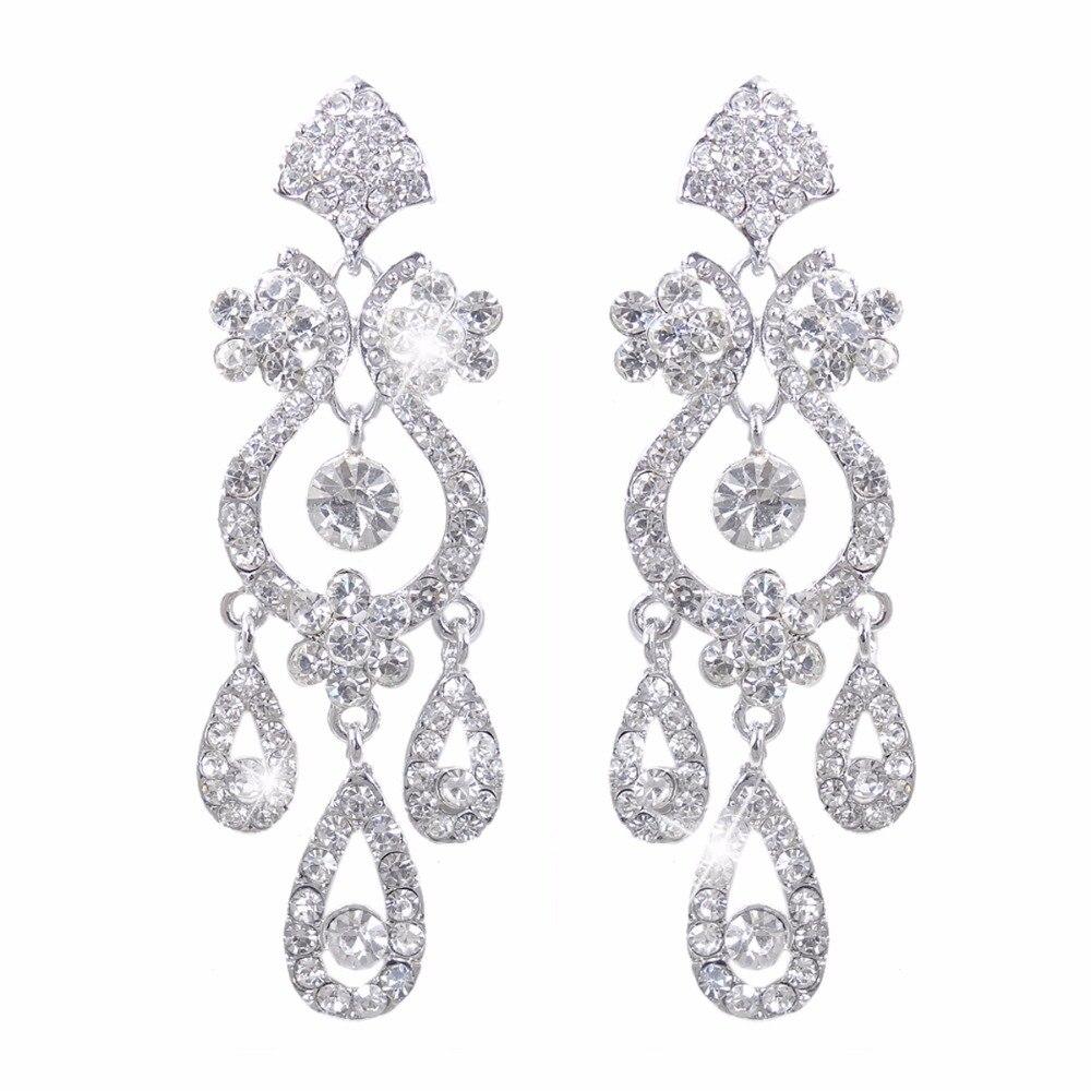 Bella Fashion Flower Vase Chandelier Bridal Earrings Austrian Crystal  Teardrop Dangle Earrings For Wedding Party Jewelry
